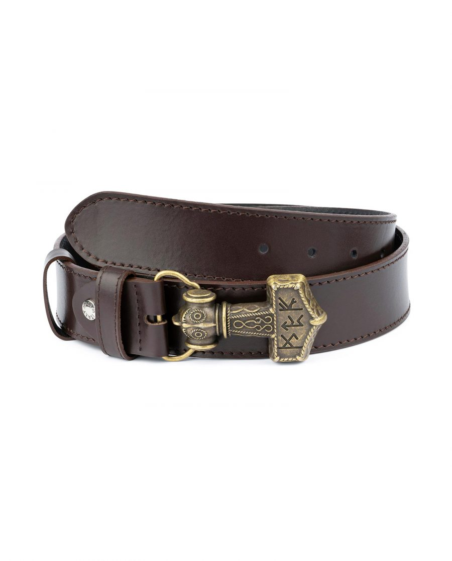Norse Leather Belt Thors Hammer Buckle 1