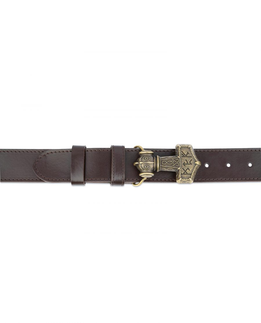 Norse Leather Belt Thors Hammer Buckle 2