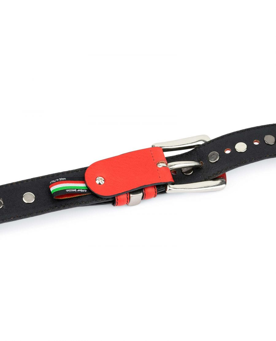 Red Studded Belt Genuine Leather 8