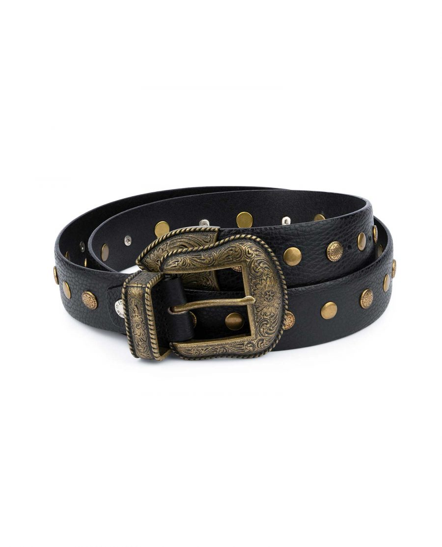 Studded Western Belt With Bronze Buckle 2