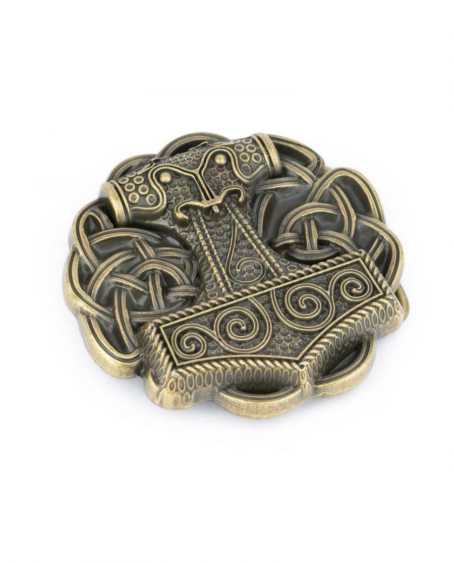 Viking Belt Buckle Thors Hammer Bronze Round 1