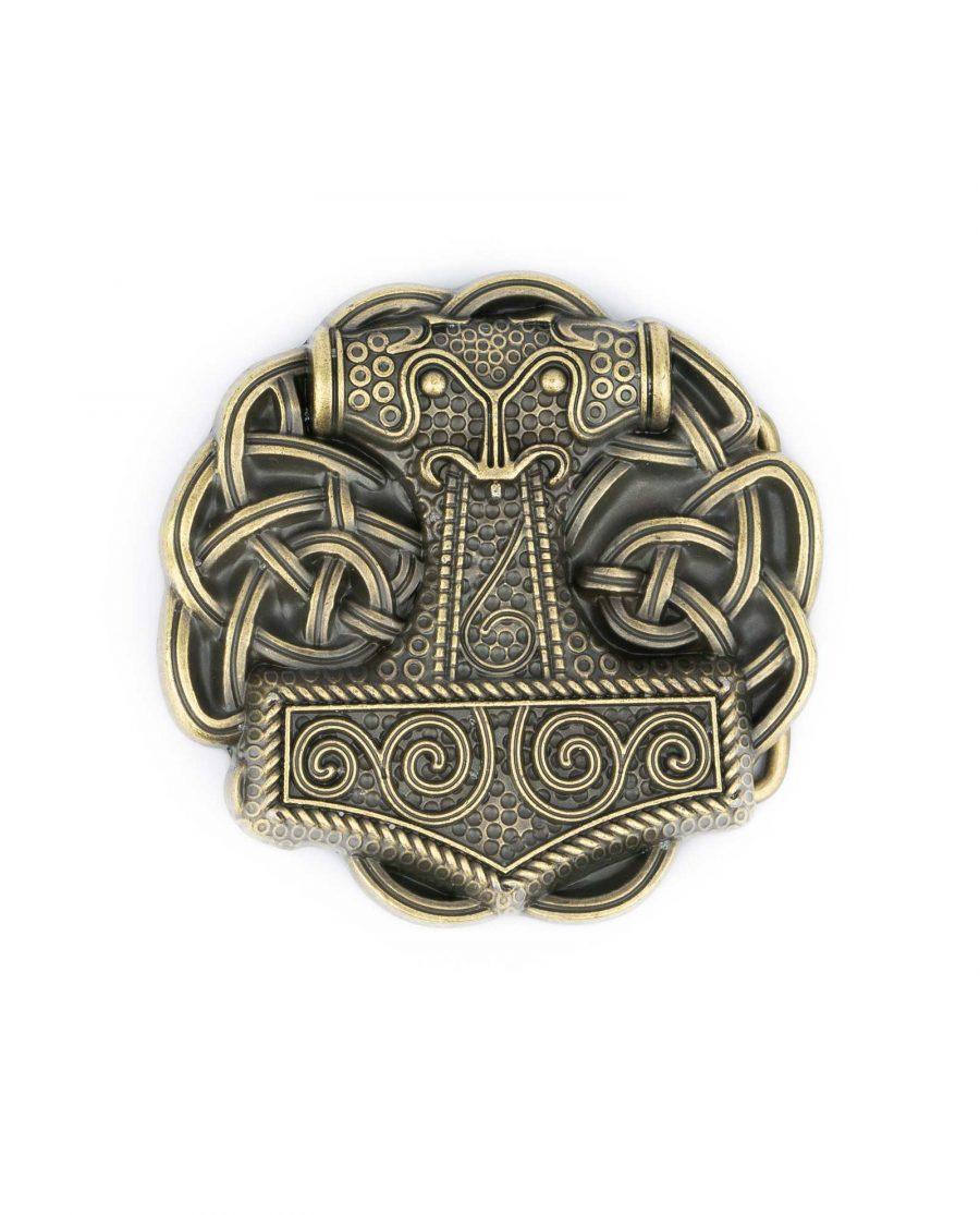 Viking Belt Buckle Thors Hammer Bronze Round 5