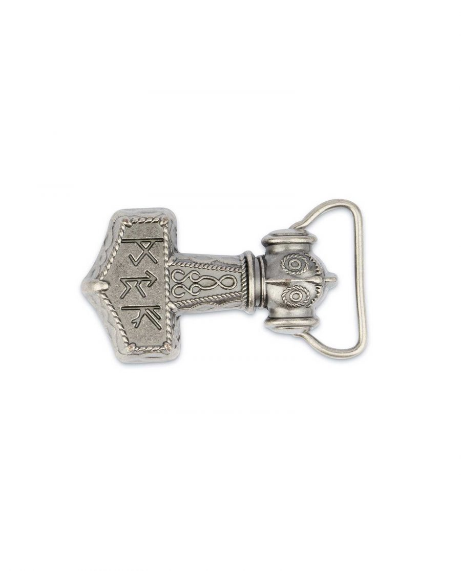 Viking Belt Buckle Thors Hammer Mjolnir Silver 5