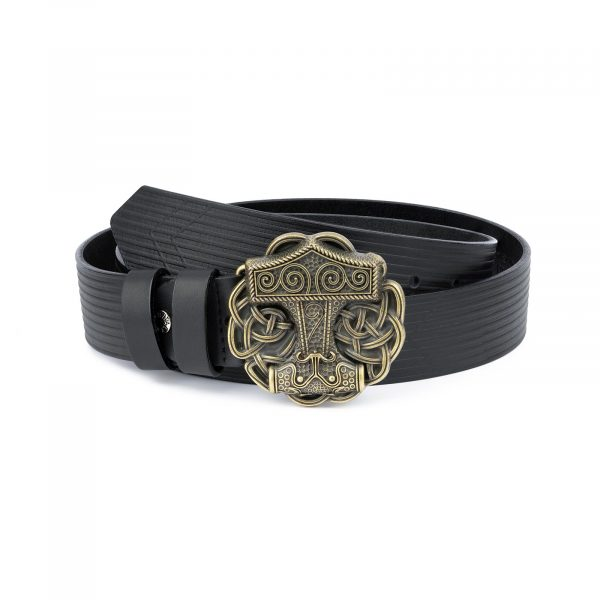 Viking Leather Belt Bronze Thors Buckle 1