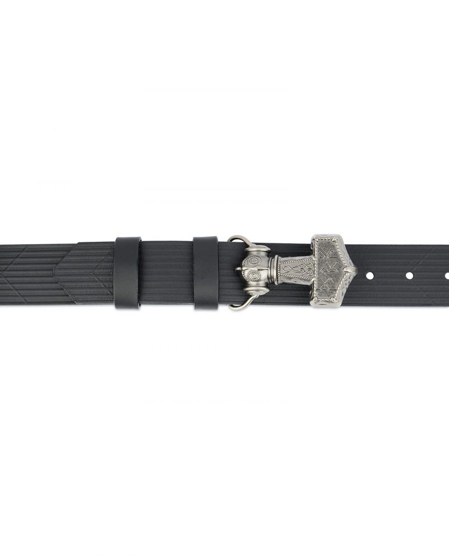 Viking Leather Belt Silver Thors Hammer Mjolnir 2
