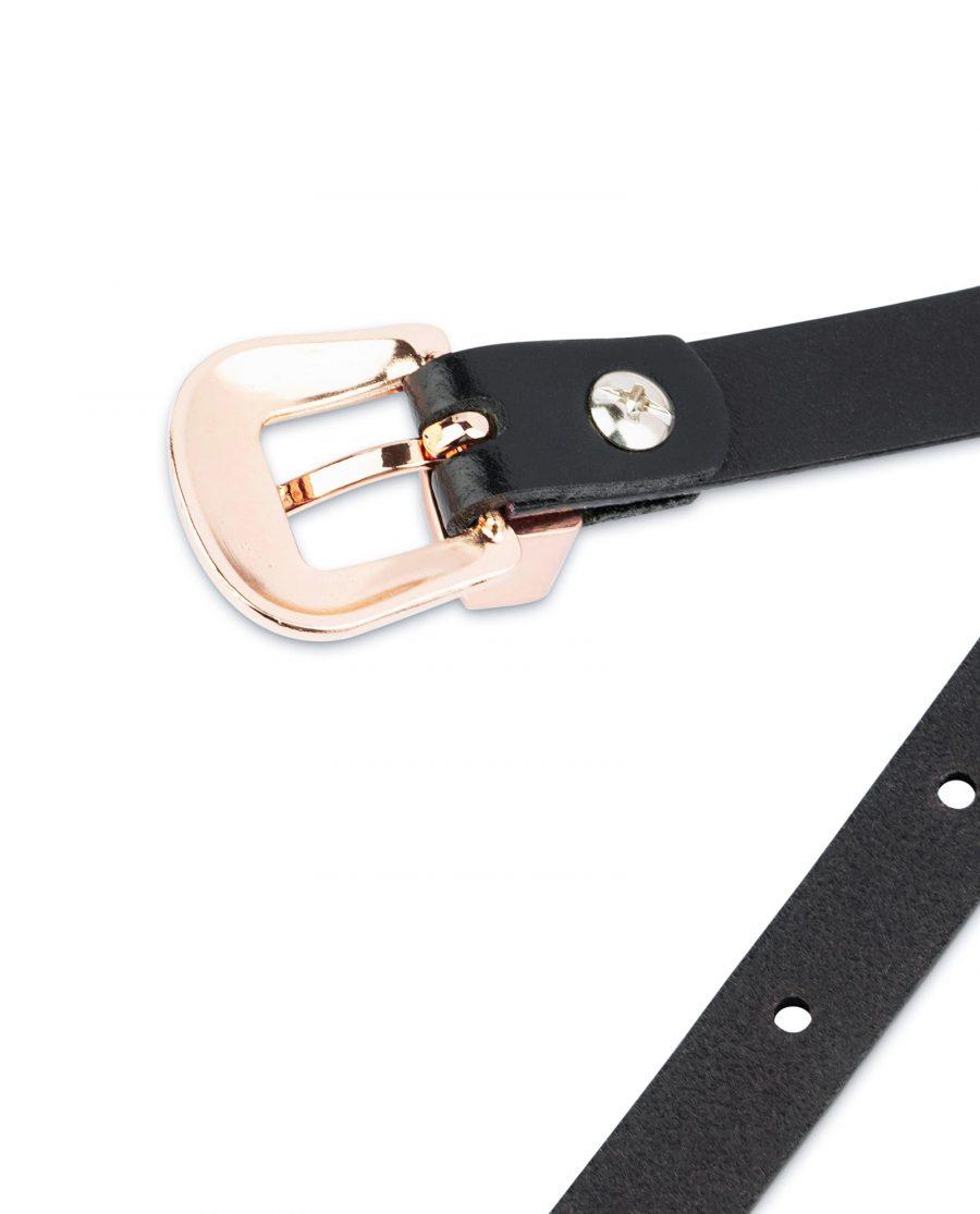 Western Black Belt With Rose Gold Buckle 15 mm 4