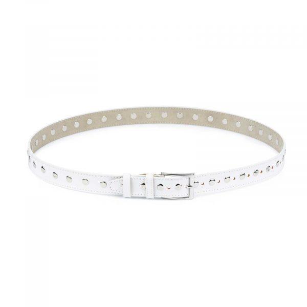 White Studded Belt Genuine Leather 1