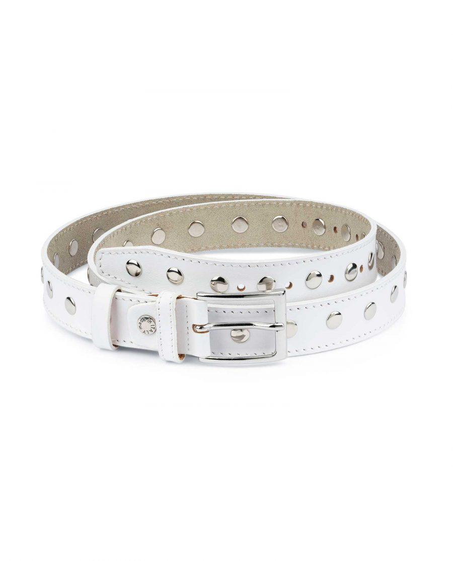 White Studded Belt Genuine Leather 2
