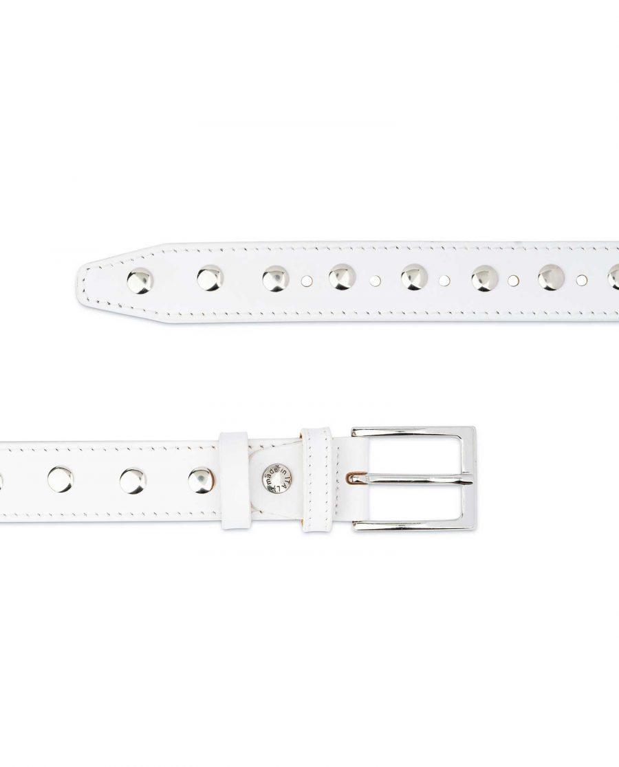 White Studded Belt Genuine Leather 3