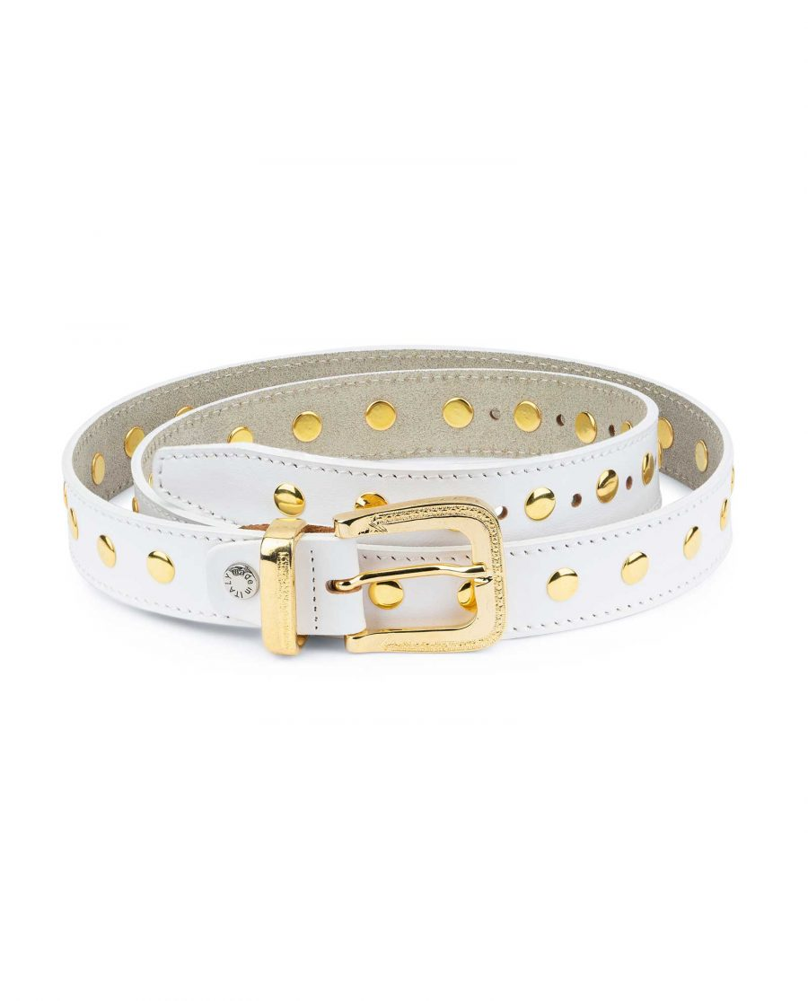White Studded Belt With Gold Rivets 1
