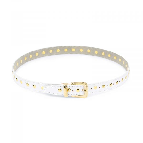 White Studded Belt With Gold Rivets 2