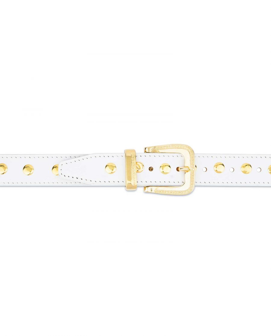 White Studded Belt With Gold Rivets 5
