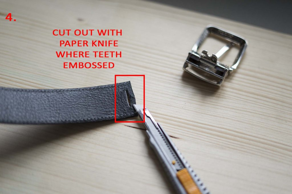 4 How To Attach a Belt Buckle to a Leather Belt Cut out with paper knife