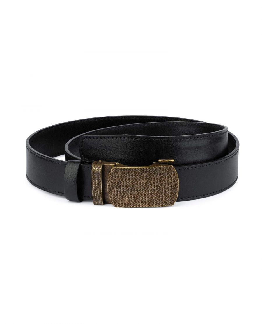 Black Automatic Belt With Bronze Buckle 1
