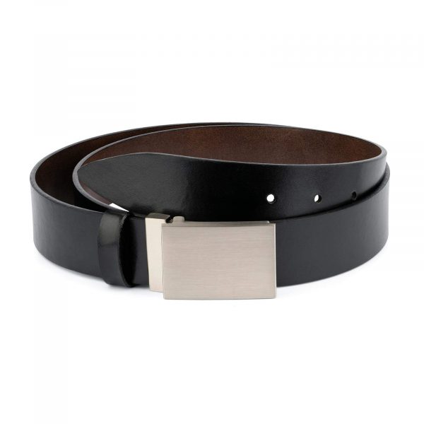 Black Leather Belt With Blank Engravable Buckle 1