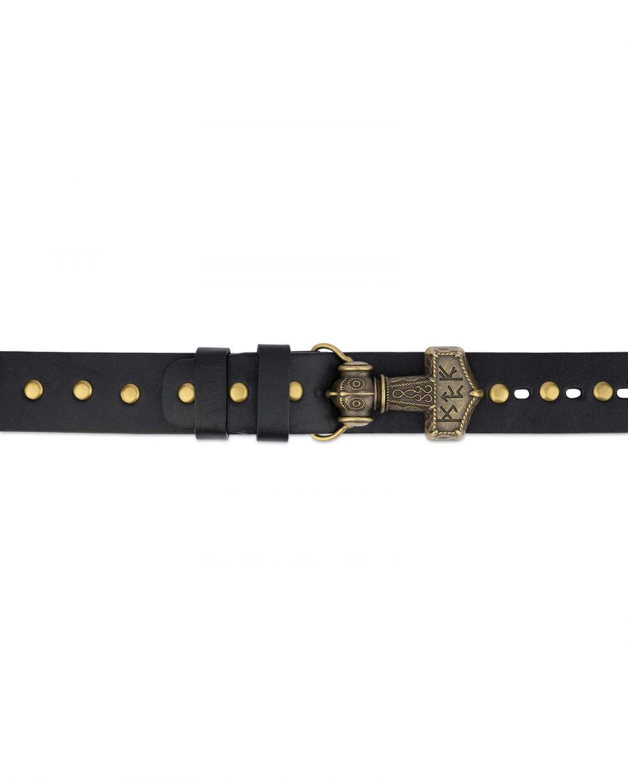 Black Studded Viking Leather Belt 5
