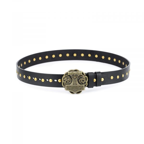 Black Studded Viking Leather Belt Norse Buckle 1