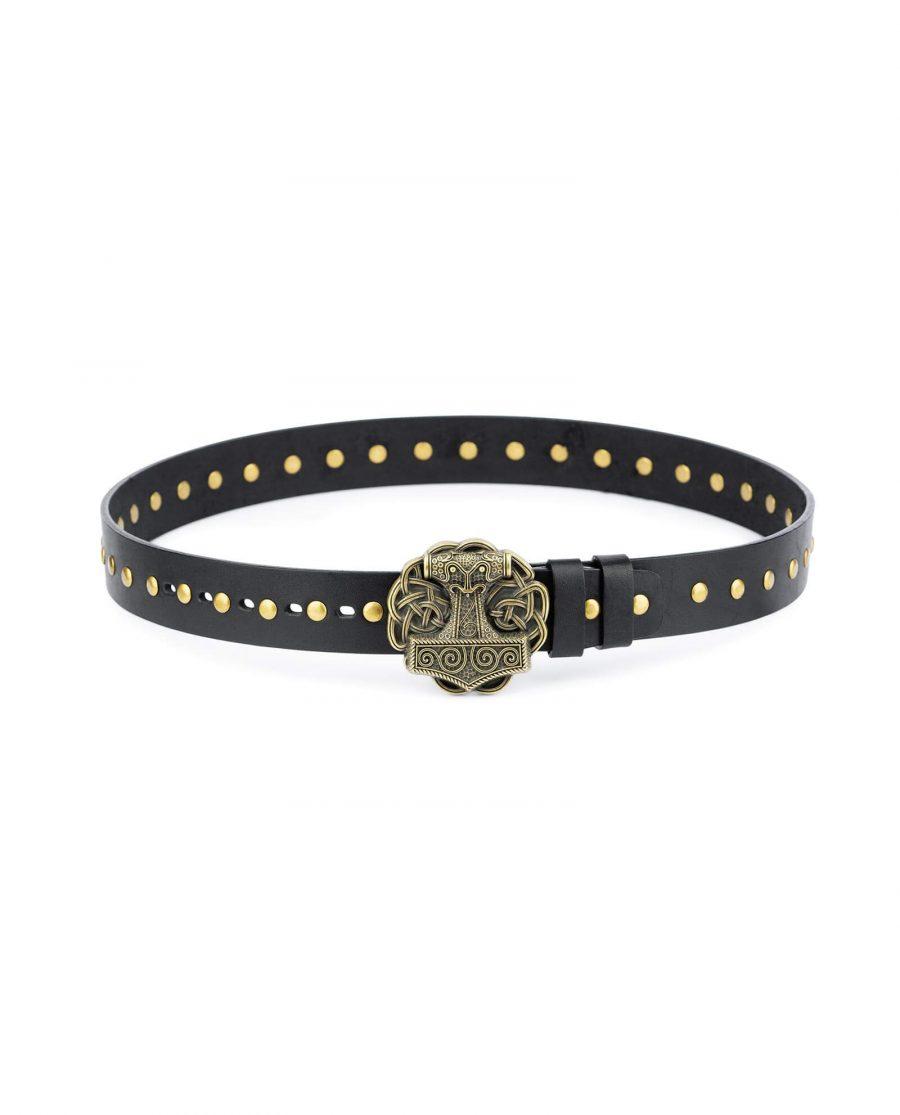 Black Studded Viking Leather Belt Norse Buckle 1