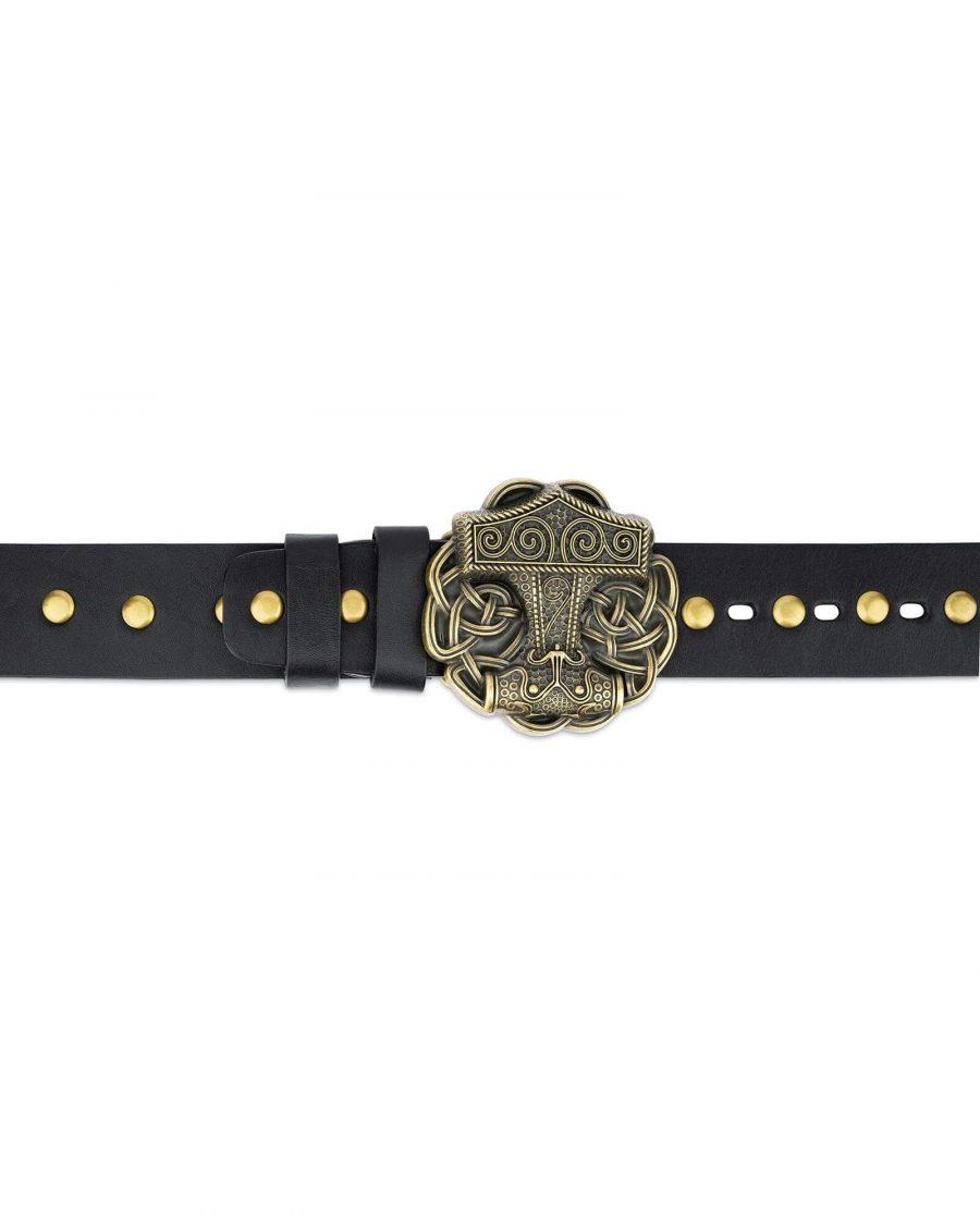 Black Studded Viking Leather Belt Norse Buckle 2