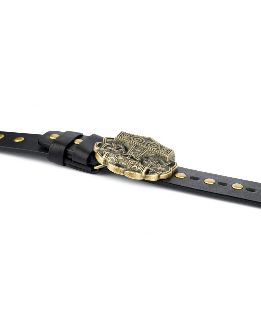Black Studded Viking Leather Belt Norse Buckle 3
