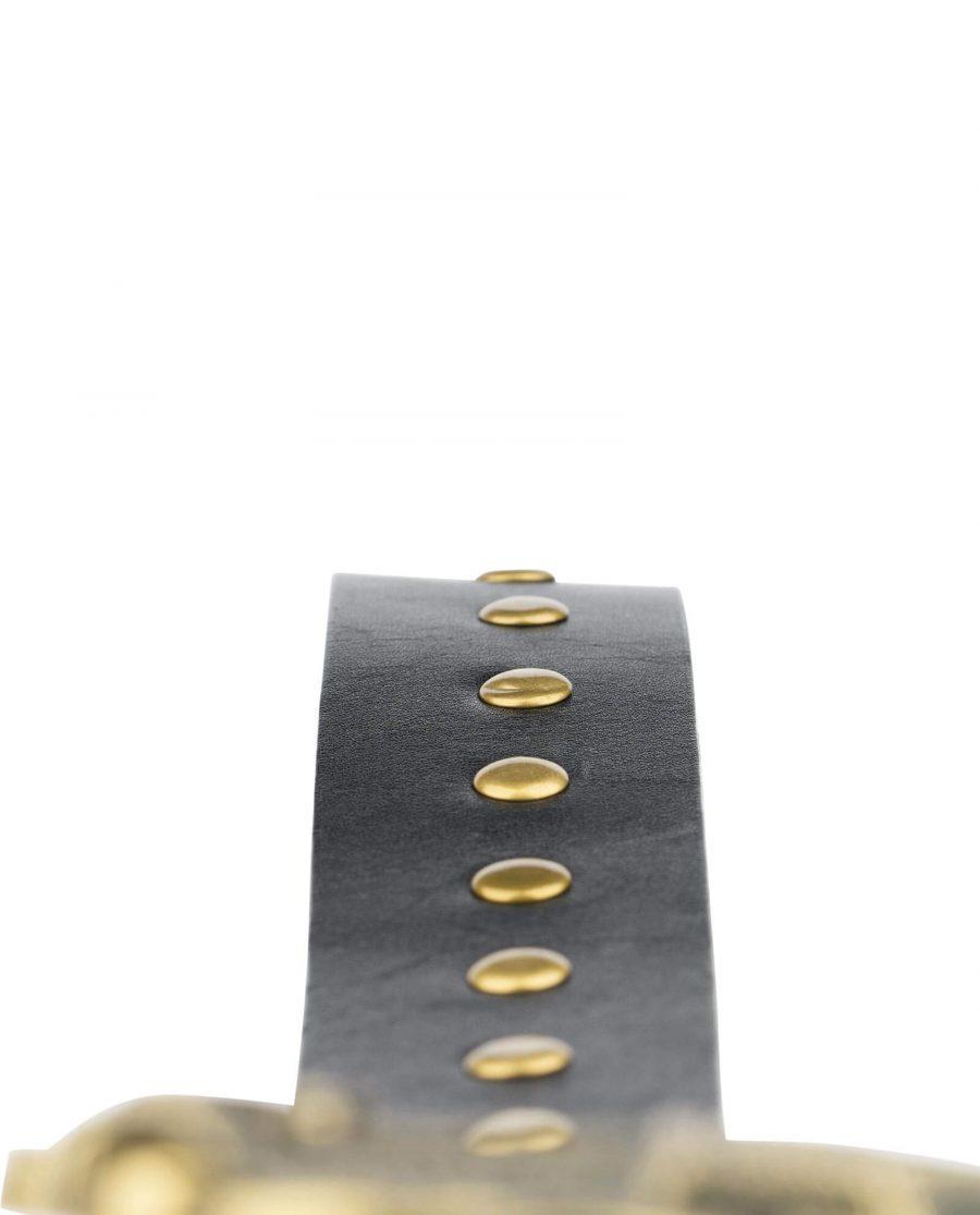 Black Studded Viking Leather Belt Norse Buckle 5