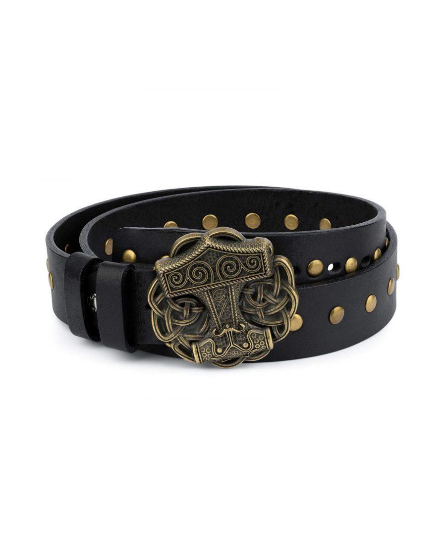 Black Studded Viking Leather Belt Norse Buckle 6