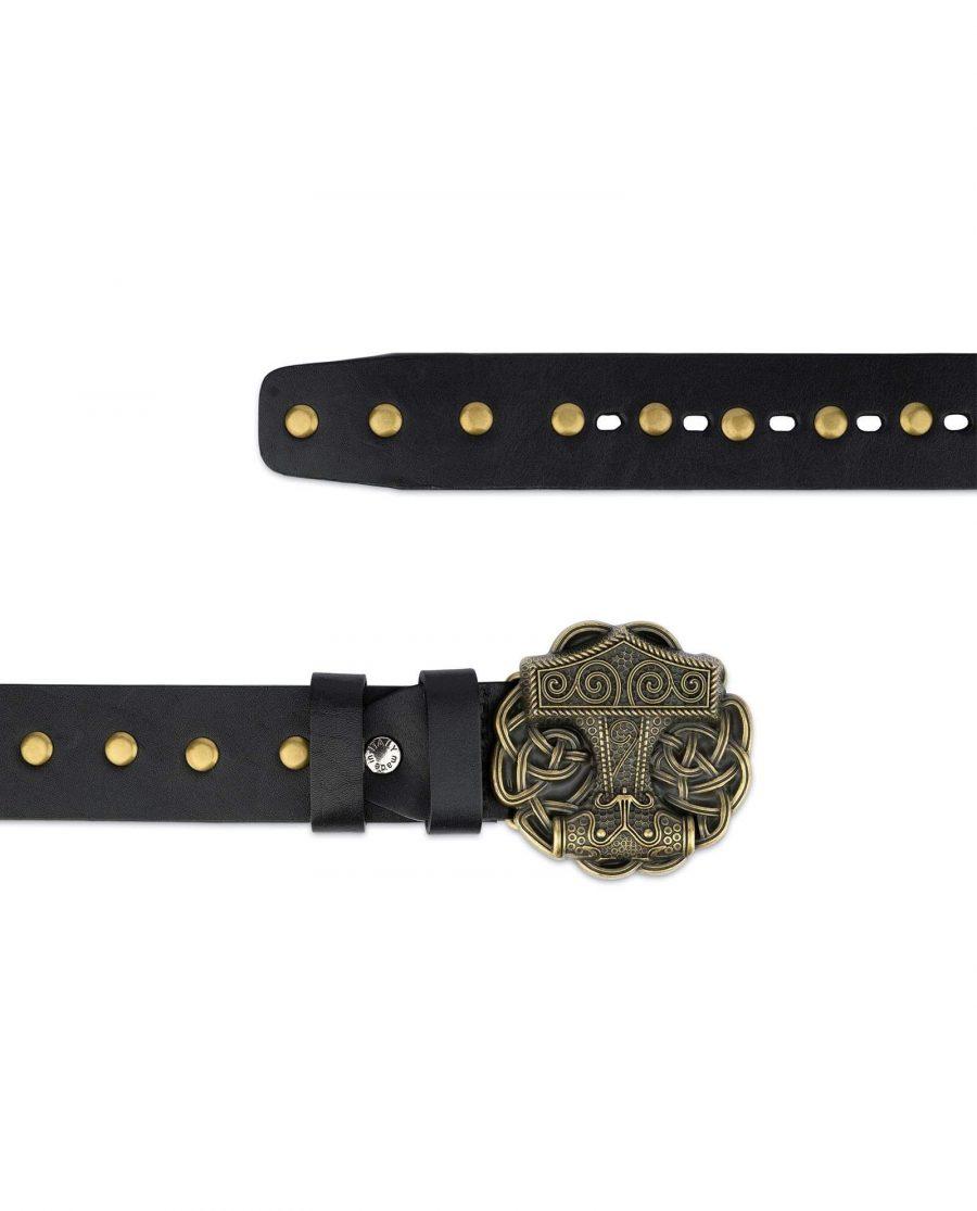 Black Studded Viking Leather Belt Norse Buckle 7