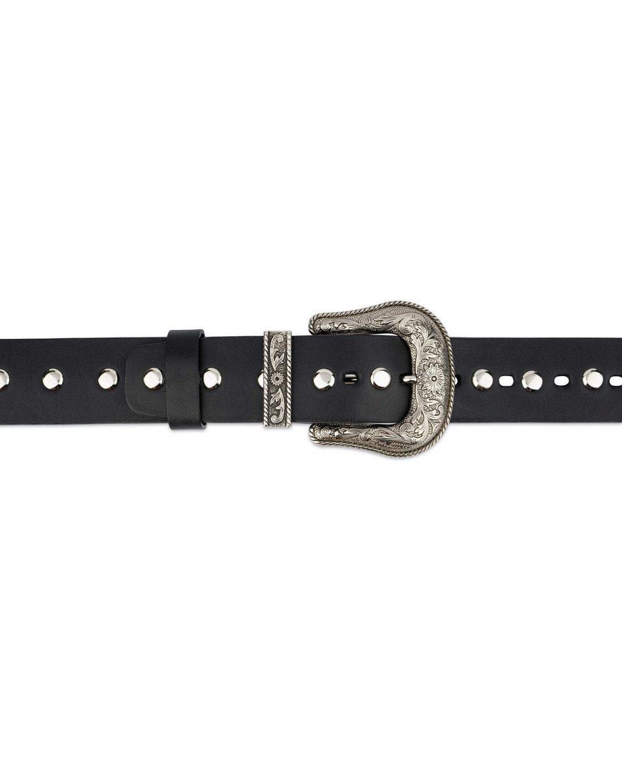 Black Studded Western Belt Full Grain Leather 3