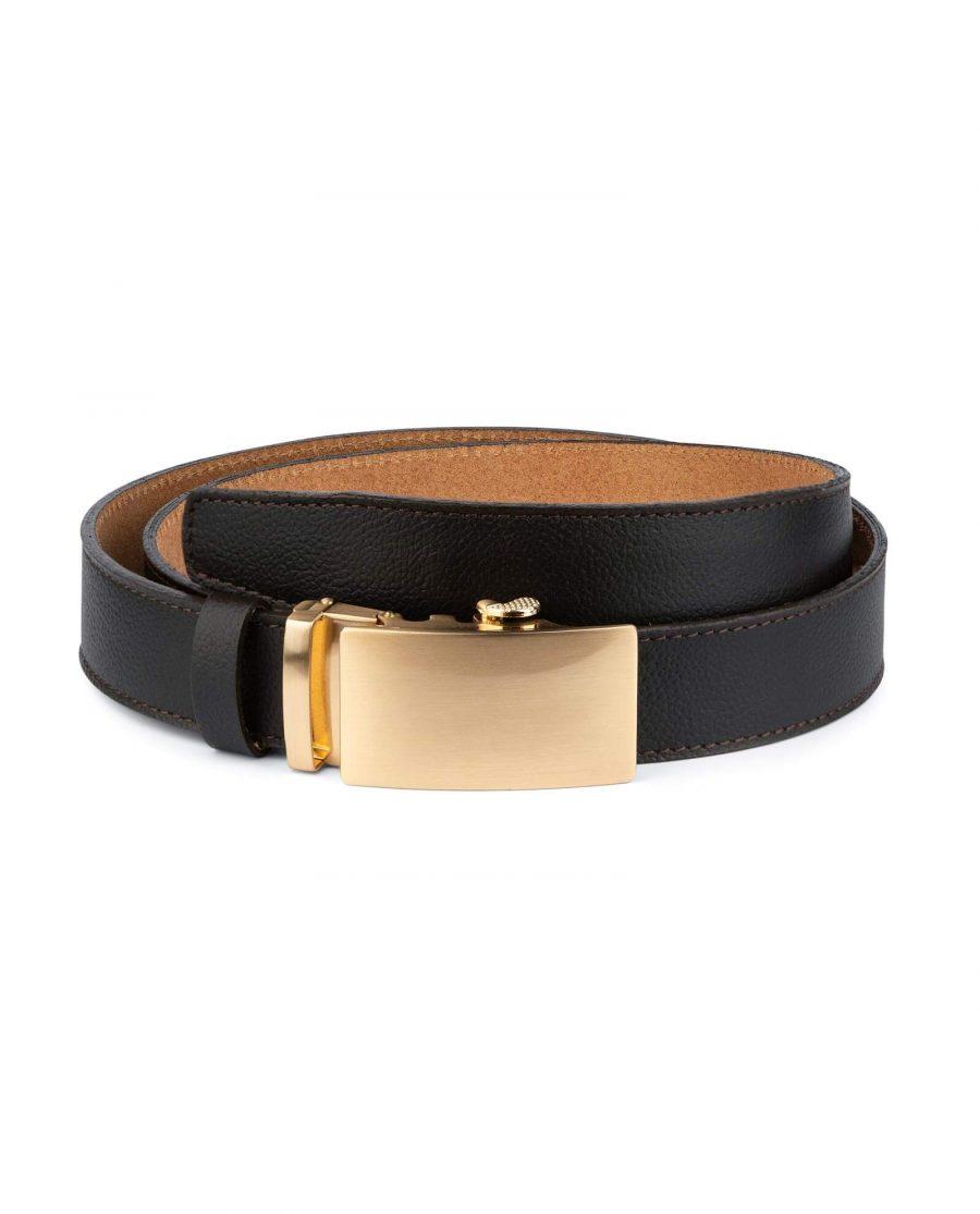 Brown Comfort Click Belt Gold Buckle 1