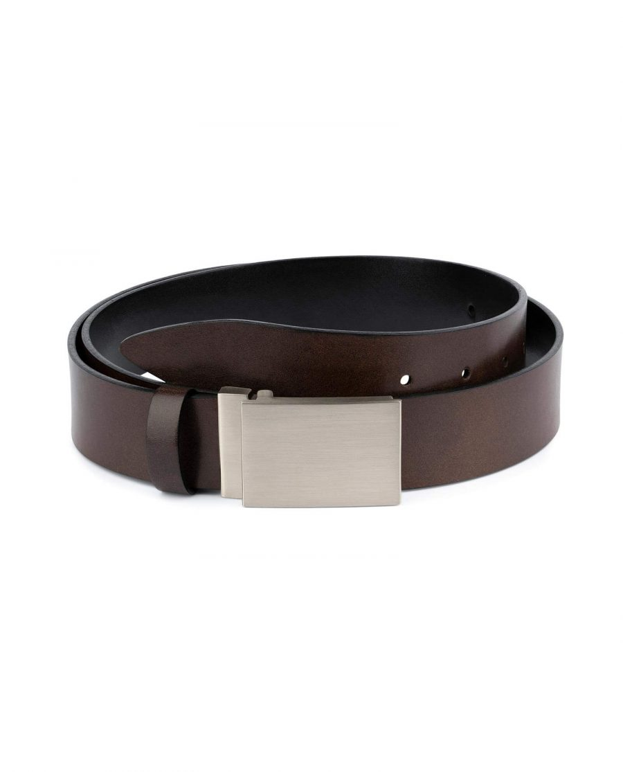 Brown Leather Belt With Blank Engravable Buckle 1