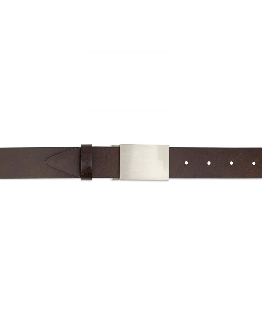 Brown Leather Belt With Blank Engravable Buckle 3