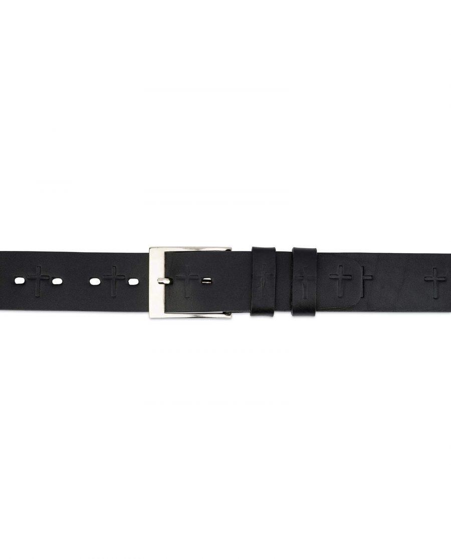 Christian Cross Embossed Full Grain Leather Belt 3