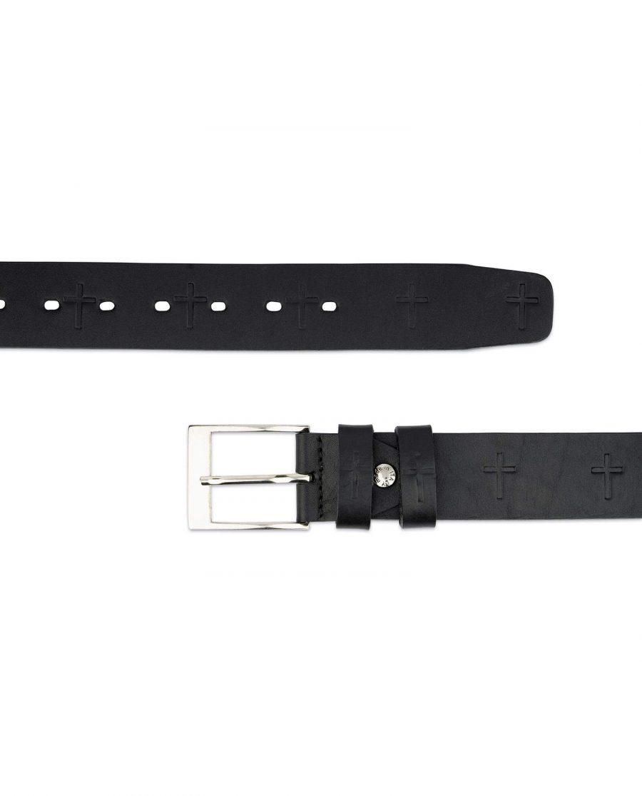 Christian Cross Embossed Full Grain Leather Belt 4