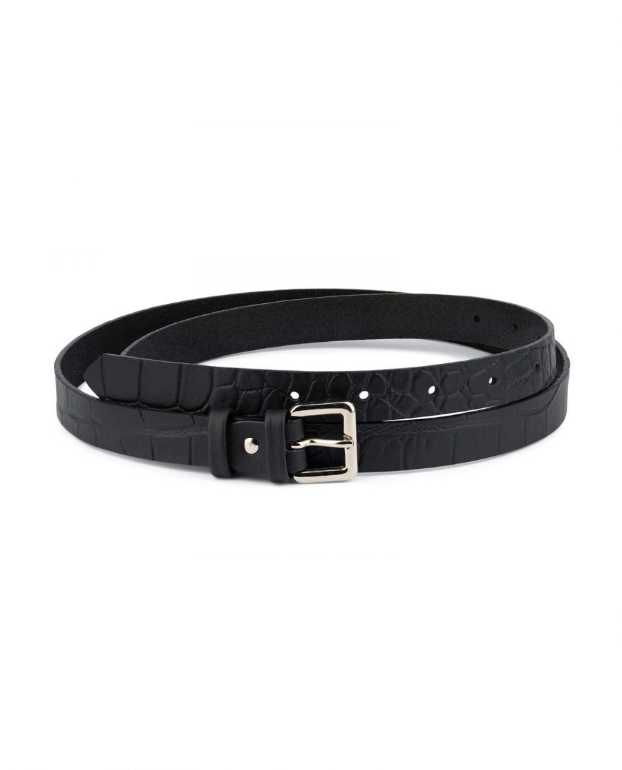Croco Thin Black Belt Womens 2 0 Cm 1