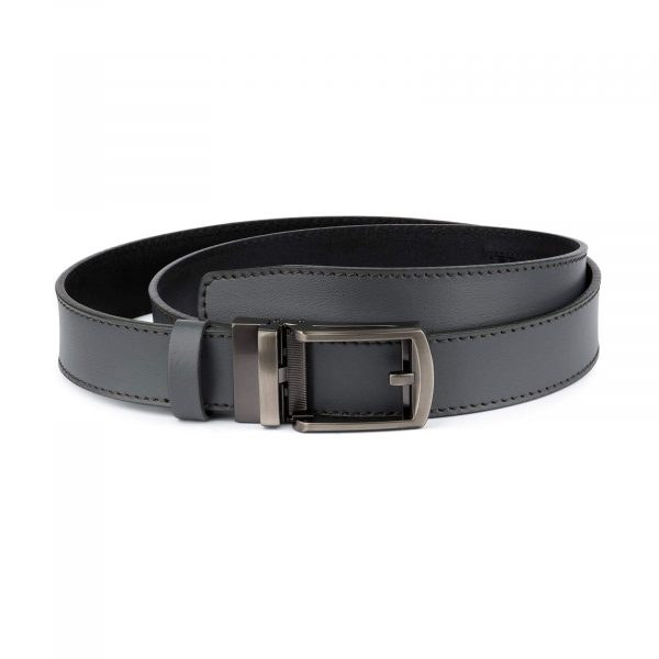 Holeless Mens Grey Leather Belt 1