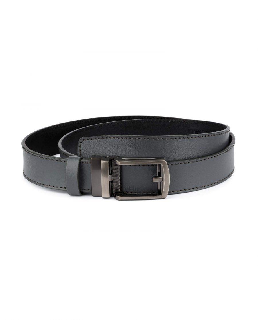 Holeless Mens Grey Leather Belt 1