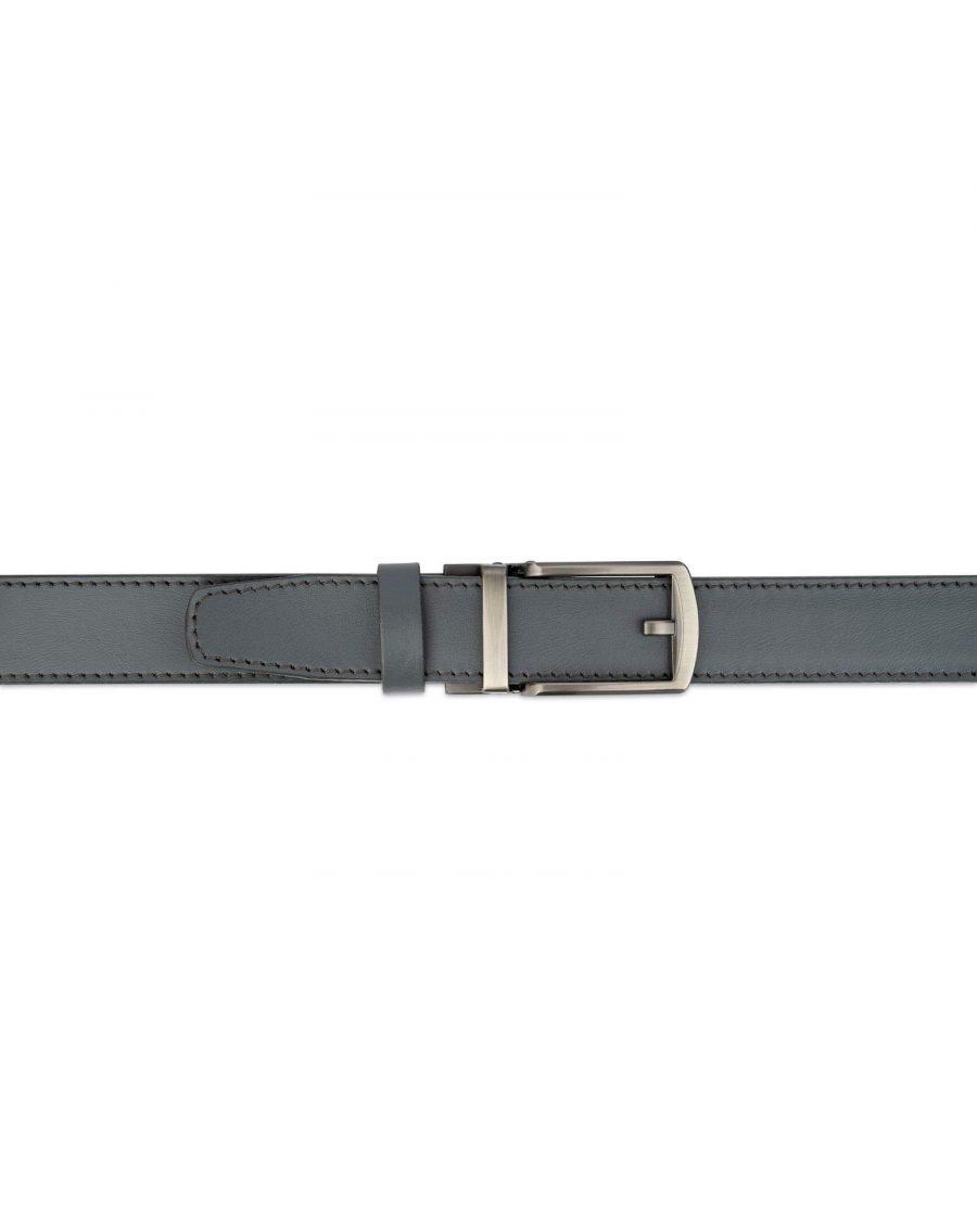 Holeless Mens Grey Leather Belt 3