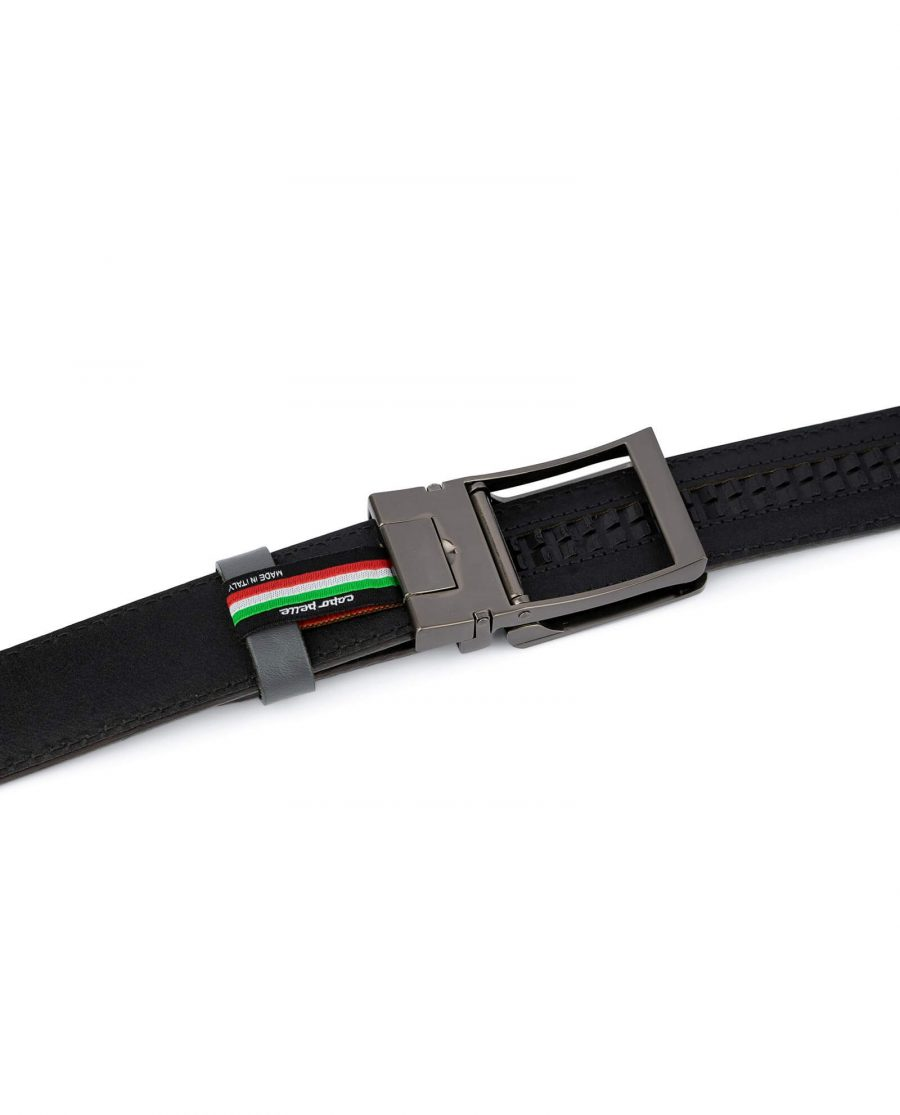 Holeless Mens Grey Leather Belt 4