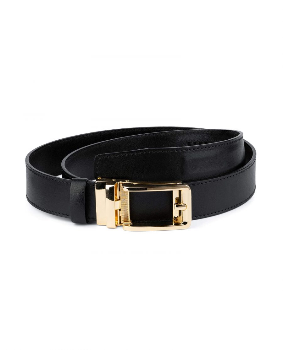 Mens Ratchet Black Belt Gold Buckle 1