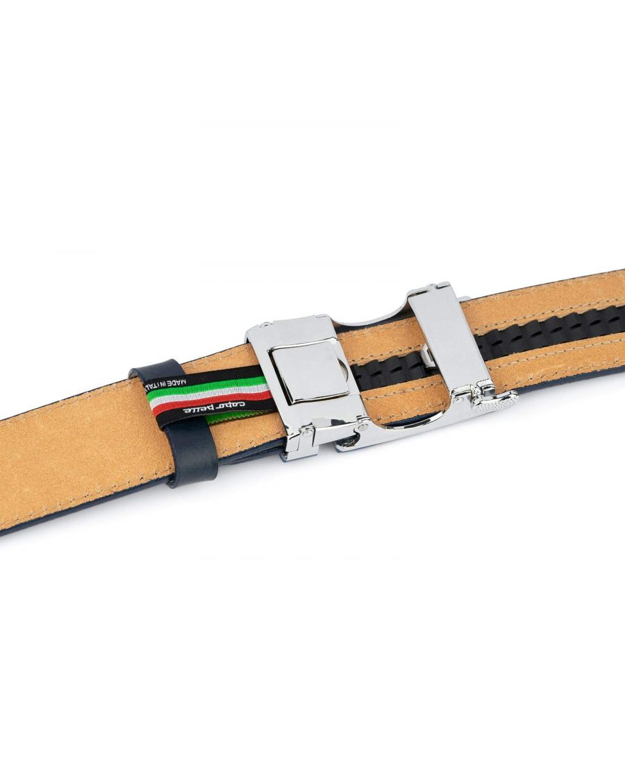 Navy Mens Click Belt With Blue Buckle 4