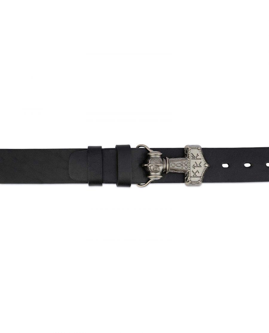 Viking Leather Belt Mjolnir Sword Buckle 3