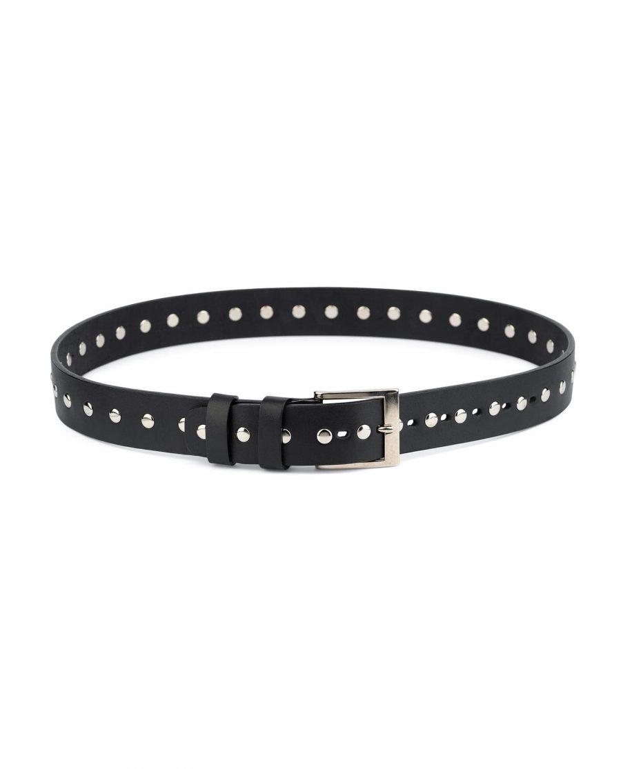 Wide Black Studded Belt Full Grain Leather 1