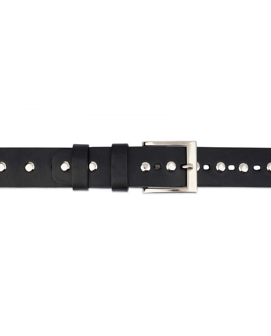 Wide Black Studded Belt Full Grain Leather 4