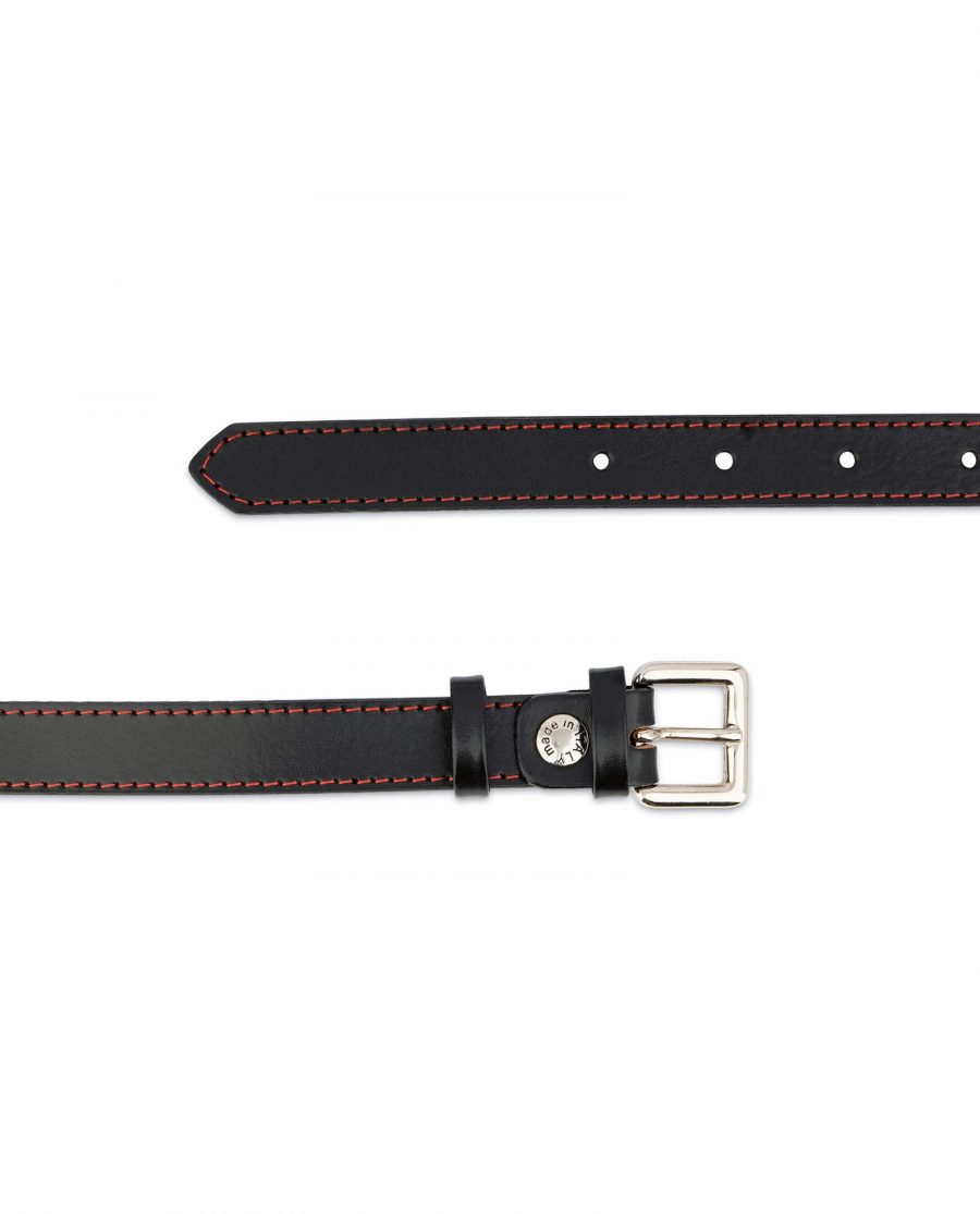 Womens Black Leather Belt Red Stitched 2