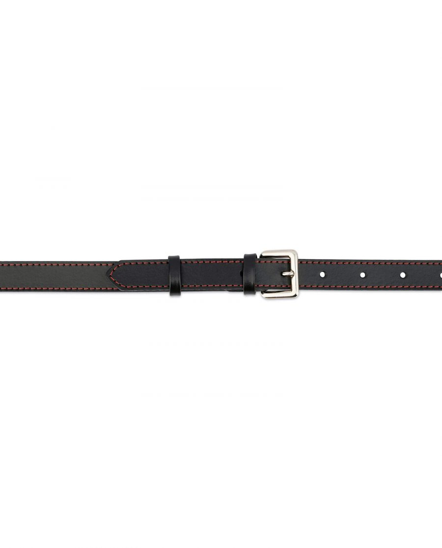 Womens Black Leather Belt Red Stitched 3