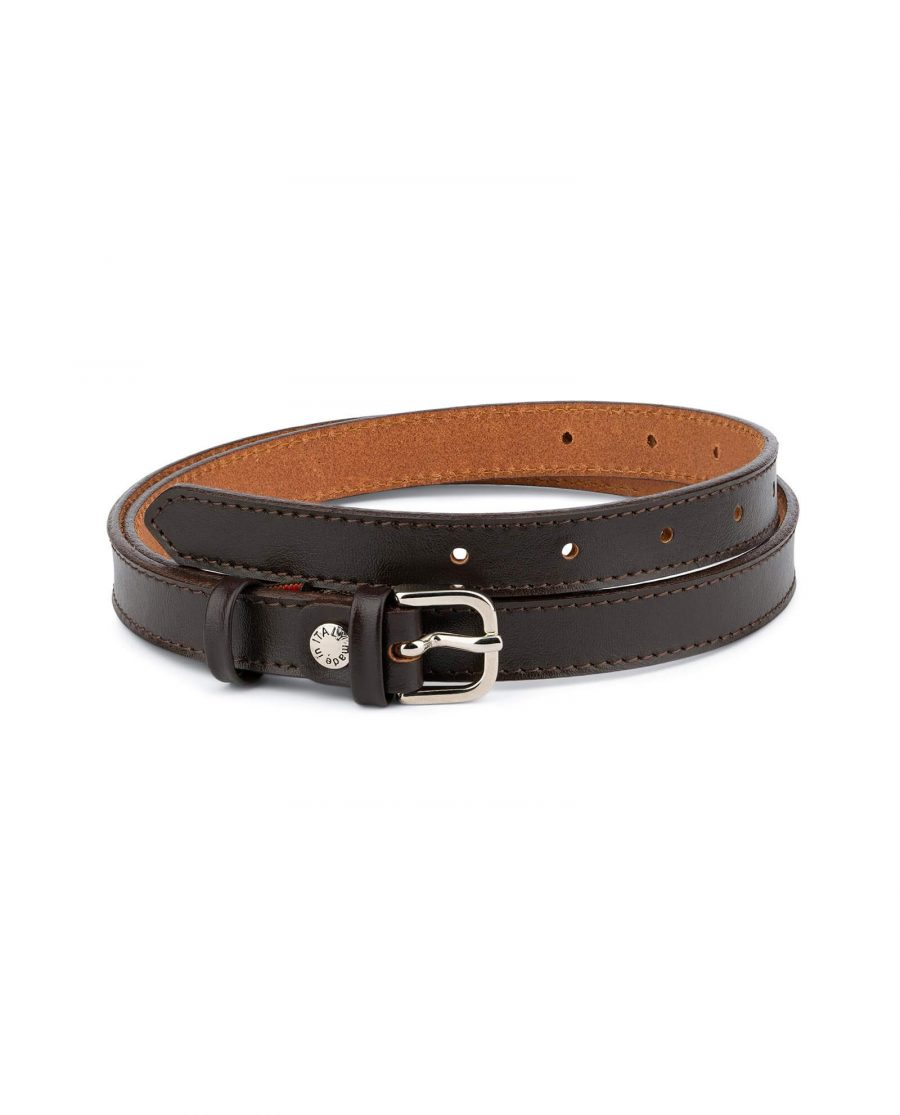 Womens Brown Leather Belt Thin 2 0 Cm 1