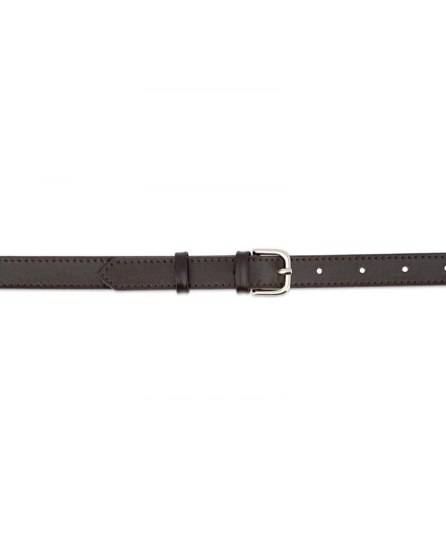 Womens Brown Leather Belt Thin 2 0 Cm 3