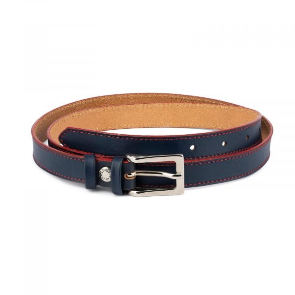 Womens Navy Blue Belt Red Stitched 1