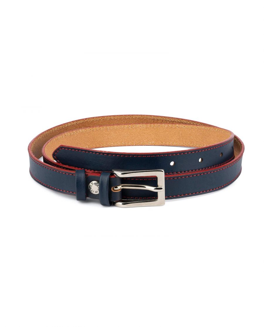 Womens Navy Blue Belt Red Stitched 1