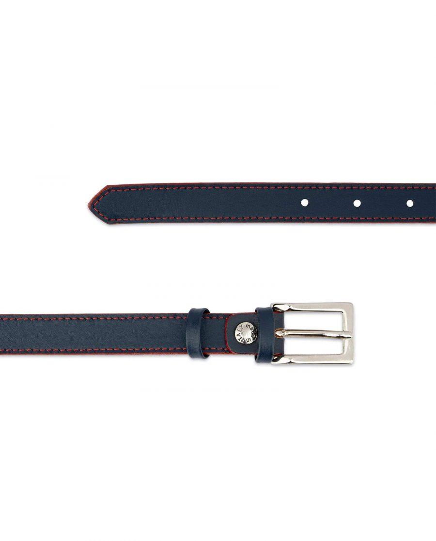 Womens Navy Blue Belt Red Stitched 2